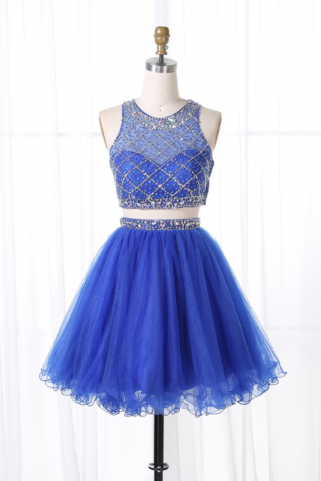Charming Two Piece Jewel Sleeveless Royal Blue Tulle Short Homecoming Dress with Beading