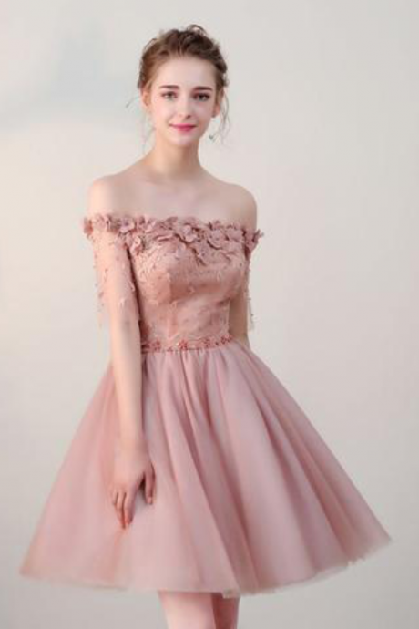 Pearl Pink Off-the-Shoulder Floral Appliqués Short Homecoming Dress, Party Dress, Formal Dress