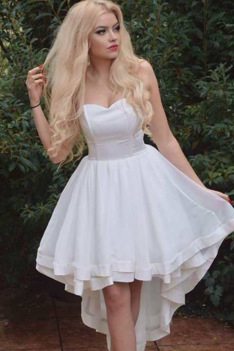 Simple Sweetheart White High Low Prom Dresses Long