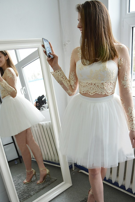 Long Sleeves Homecoming Dresses,A-line Homecoming Dresses,See Through Homecoming Dresses