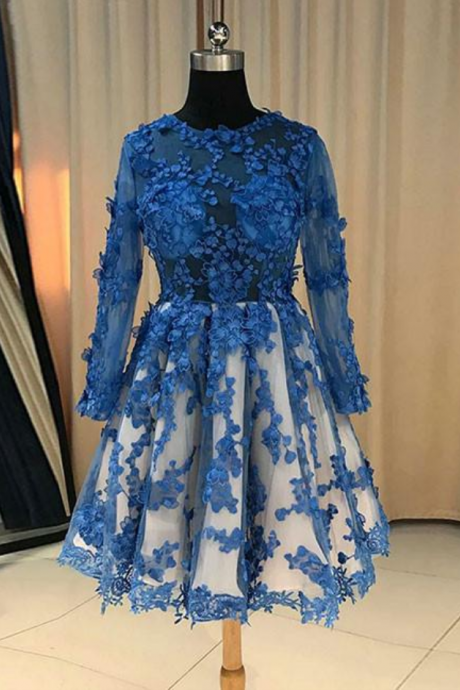 Attractive BLUE LACE SHORT PROM DRESS, BLUE LACE BRIDESMAID DRESS