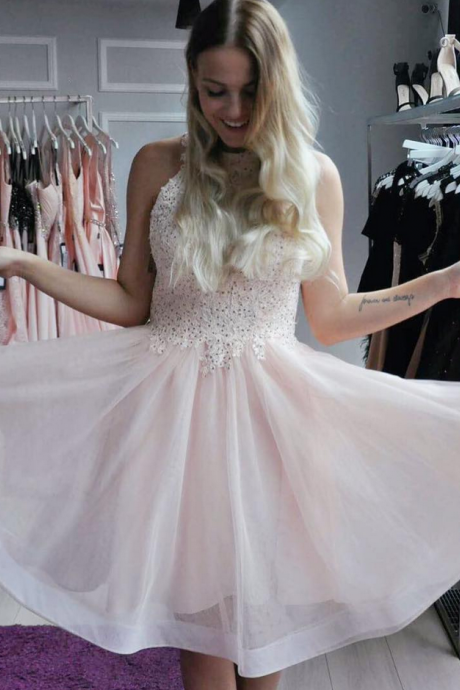 Beaded Lace Appliques High Neck Homecoming Dress Short Prom Gowns in Pink