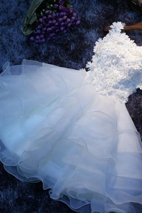 A-line Scoop Organza Homecoming Dress, White Homecoming Dress for Girls, Graduation Dresses for Teens