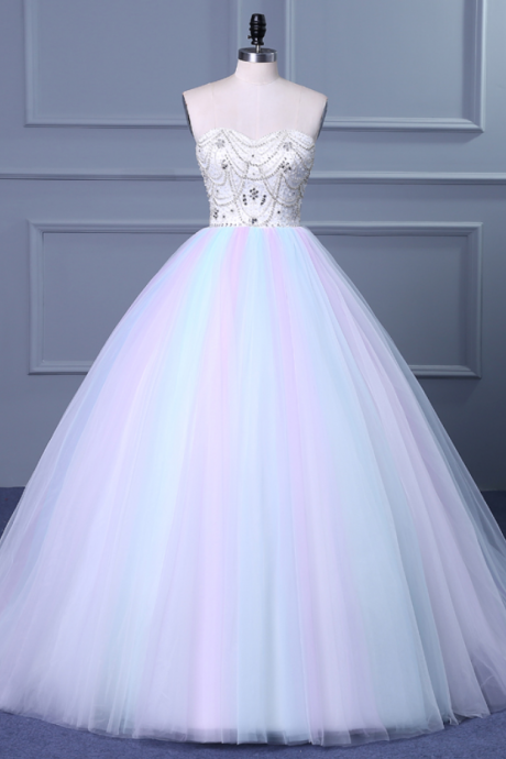 Cheap wedding dresses ,Strapless Sweetheart Colorful Wedding Gown with Sweep Train
