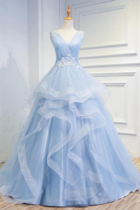 Cheap wedding dresses Fairy Tale Sky Blue Tulle V Neck Wedding Dresses,Appliques Sleeveless Lace up Back Tiered Bridal Gowns
