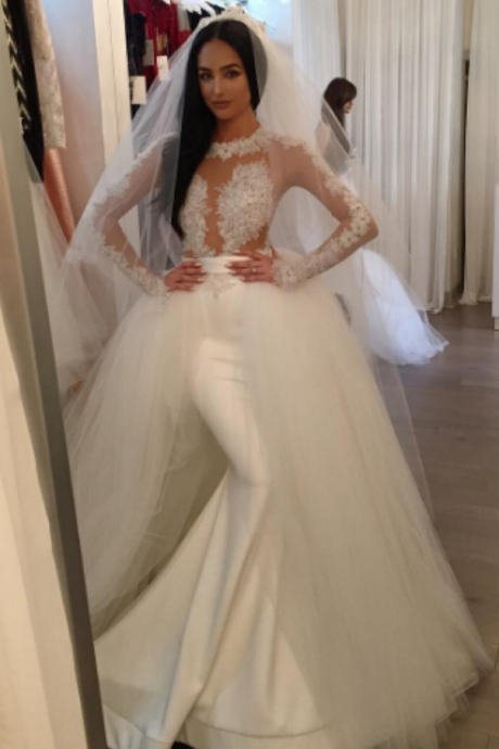 Cheap wedding dresses ,Mermaid Tulle Wedding Dresses, Long Sleeve Wedding Gowns, Lace Bridal Dresses, Sheer Sexy Bridal Gowns