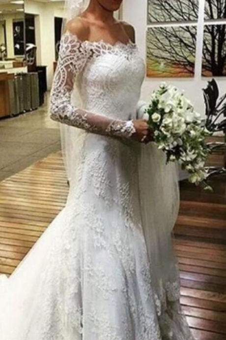 Cheap Off Shoulder Long Sleeves Mermaid Lace Wedding Dress