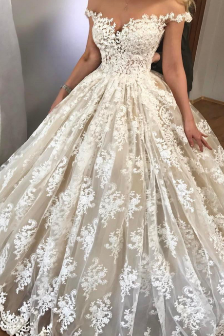 Cheap wedding dresses Sexy Wedding Dress Off Shoulder Wedding Dress , Ball Gown Wedding Dress , Short Sleeves Bride Dresses , Back Lace Up Bridal Gowns ,Lace Wedding Gowns