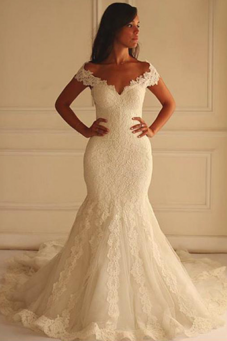 Stunning Wedding Dresses,Tulle Wedding Dress,Off-the-shoulder Wedding Dresses, Mermaid Wedding Dress With Lace Appliques, Lace Wedding Dress, Wedding Dress, Wedding Dress