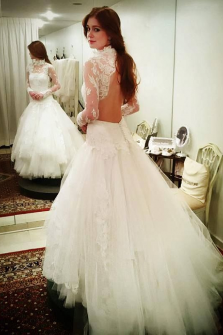 High Neck Long Sleeves Open Back Lace Mermaid Wedding Dress