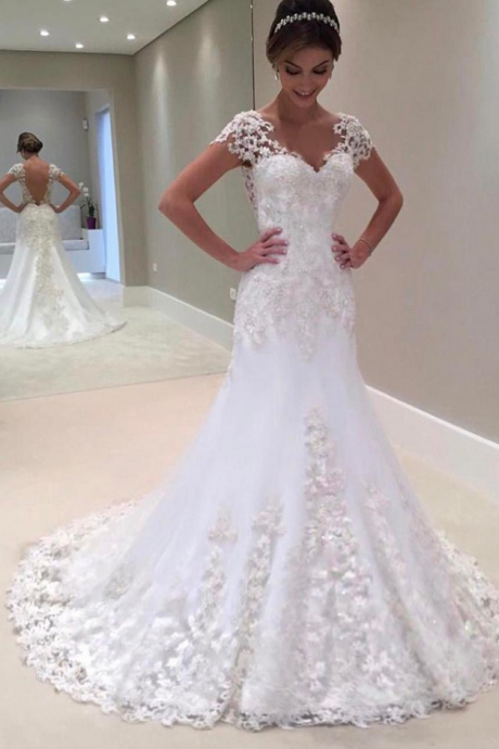 short sleeves wedding dress,vintage wedding gowns,lace mermaid wedding dresses ,sexy wedding gowns