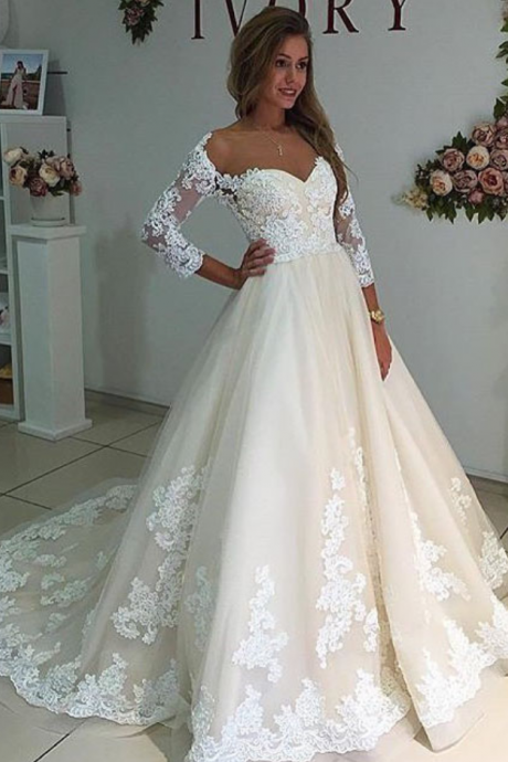 Cheap wedding dresses Cheap wedding dresses Sheer Neck Long Sleeves Ivory Wedding Dress with Lace