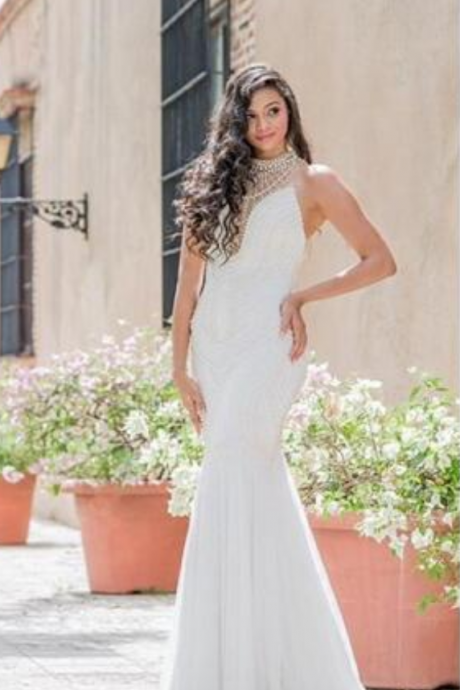 Sexy Mermaid Wedding Dresses White Chiffon High Neck Sleeveless with Pearls Open Illusion Back Sweep Train Custom Made Bridal Gowns