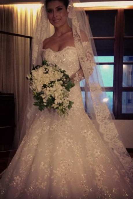Exquisite Bridal Dresses Ivory/White Debutante Gowns Elegant Long Sleeve Lace Wedding Gowns