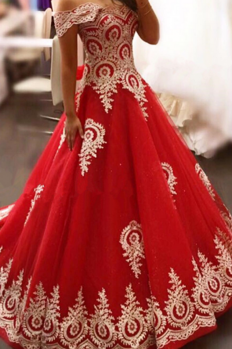 gold lace appliques prom dress,red evening gowns,elegant bride dress,prom dress ,wedding dress
