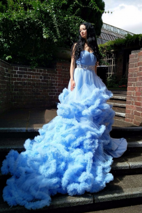 Sweetheart Ruched Bodice Prom Dresses Ball Gown Dress Blue Evening Dress Colorful Wedding Gown Evening Gown