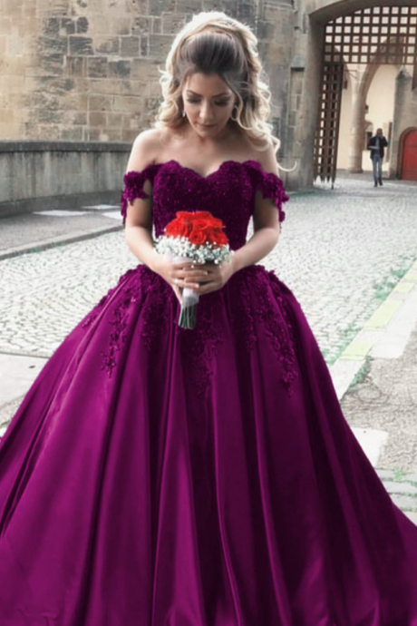 satin wedding gowns,off shoulder bride dress,elegant wedding dress,ball gowns wedding dresses,grape ball gowns