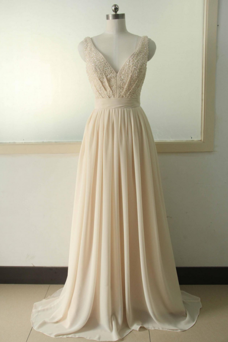 Champagne A-line Beading Sequins Prom dress V-neck Chiffon Bridal Wedding dress