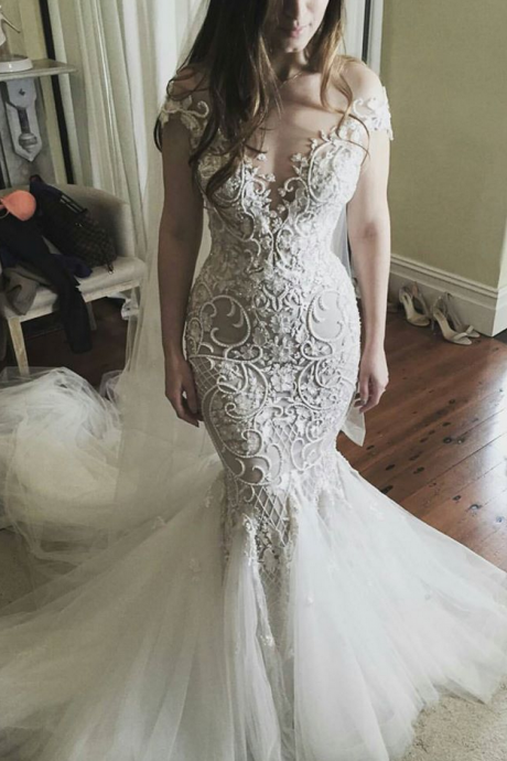 Cheap wedding dresses Plunging Neck Ivory Lace Mermaid Bridal Wedding Dress with Beading