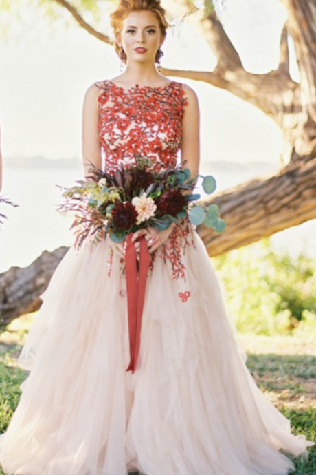 Floral Prom Dress Wedding Dress, Long Prom Dress Wedding Dress