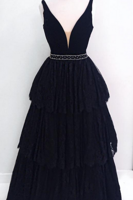 V-neck Long Black Lace Prom Dresses Beaded Women Party Dresses