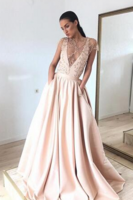 Cheap prom dresses llusion Evening Gowns Sheer Neck Embroidery Bead Pearls Formal Gowns Sweep Length Custom Made Prom Dress