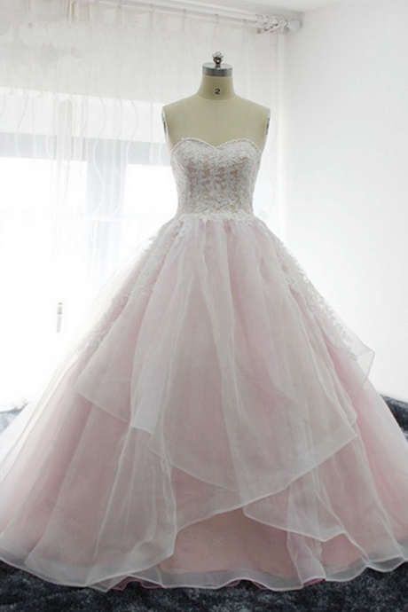 sweetheart baby pink long tulle prom dress, long white lace appliques evening dress