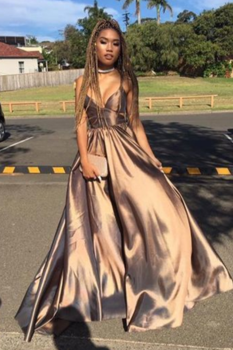 Coffee Satin Strap V-neck A-line Prom Dresses, Affordable Long Prom Dresses