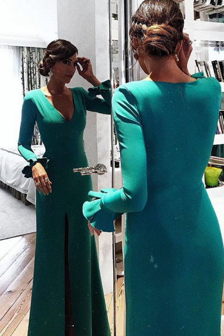Serious Emerald Green Prom Dress, Long Sleeves Mermaid Evening Dress with Slit