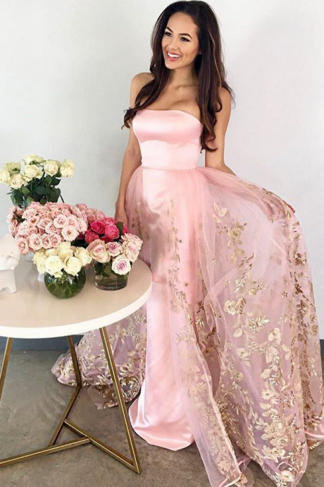 Pink Satin Prom Dress, Strapless Beaded Prom Dress, Lace Appliques Long Prom Dress