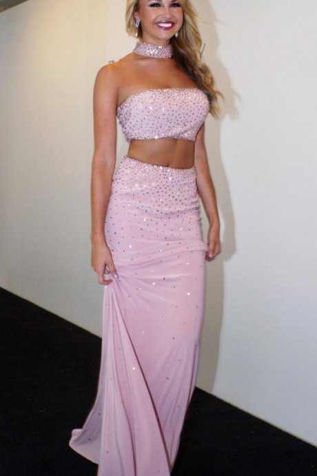 Sparkly Sequined Two Piece Prom Dress, Pink Long Party Dress, Gentle A-Line Evening Dress