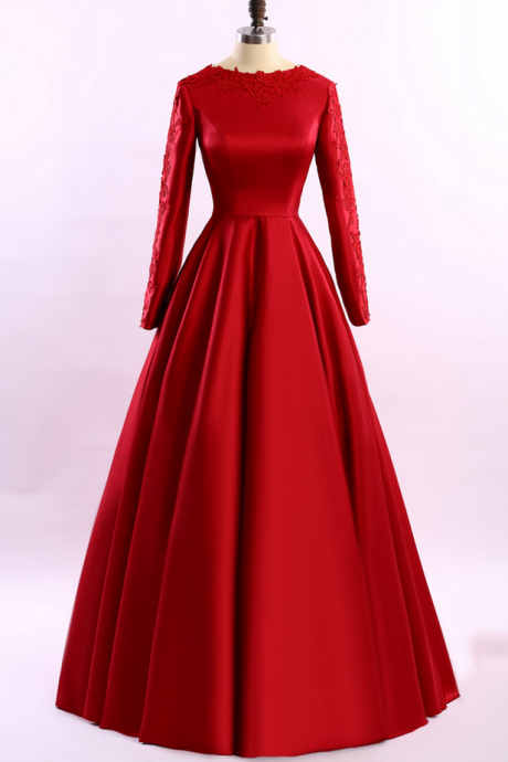 Simple Long Sleeve Red Evening Dresses Long Evening Dress With Sleeves New Arrival Formal Dresses Special Occasion Dresses