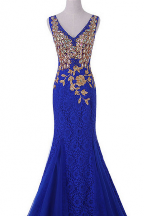 The blue ball gown was a formal evening dress ball gown