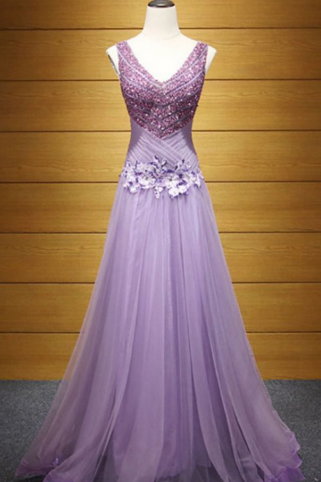 Purple A-line V-neck Floor-length Tulle Prom Dress With Beading
