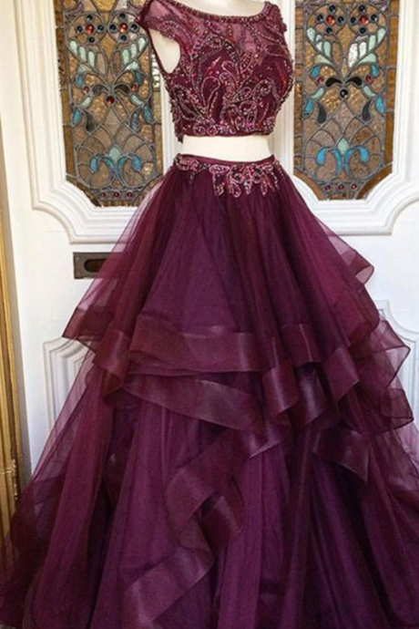 Two pieces burgundy sequin tulle prom dress, long burgundy evening dress,Fashion Prom Dress,Sexy Party Dress,Custom Made Evening Dress