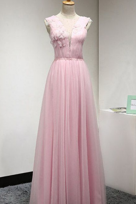 Pink Prom Dresses Long, Popular A-line Prom Dresses Scoop Neck Tulle Prom Dresses Beading