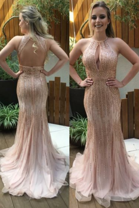 Sparkly Prom Dress,Mermaid Prom Dress,Beading Prom Dress,Backless Evening Dress