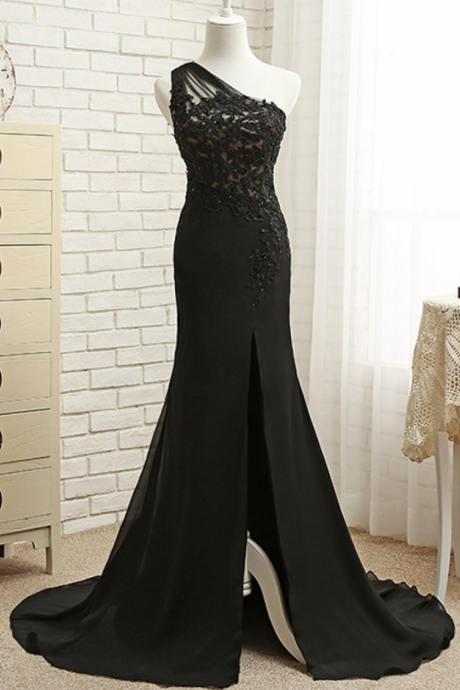 Black Long Lace Mermaid Evening Dresses Party Women One Shoulder Beaded Formal Evening Gowns Dresses Wear robe de soiree longue
