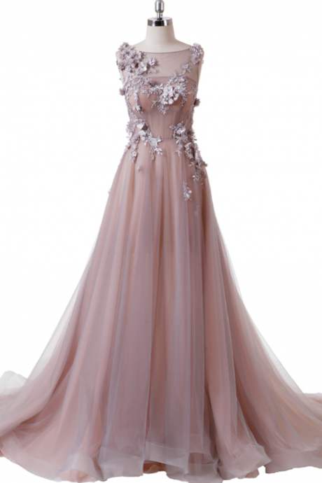 Pink Evening Dress vestido longo de festa Jewel Neck Illusion Corset Back A line Tulle Prom Dress Long Real Work Flowers