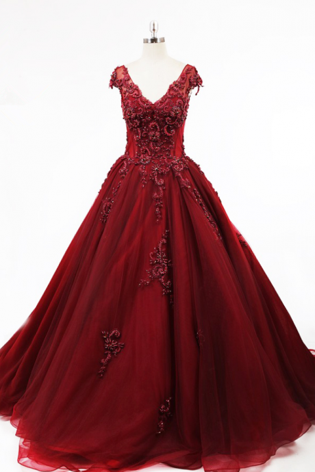 Tank V neckline Illusion Bodice Boning Open Low Back A line Layers Tulle Cap Sleeve Red Luxury Beading Evening Dress