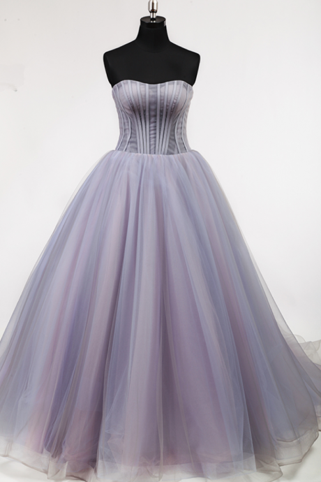 Puffy A line Off Shoulder Pleat Lace Up Back Court Train Elegant Lady Lovely Light Purple Full Boning Bodice Prom Dress