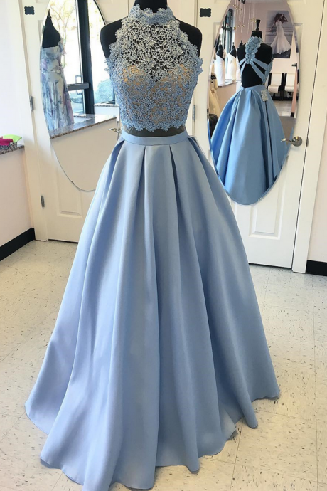 Lace Top Prom Dresses, 2 Piece Prom Dress , Satin Prom Dresses , High Neck Prom Gown,Floor Length Prom Dress