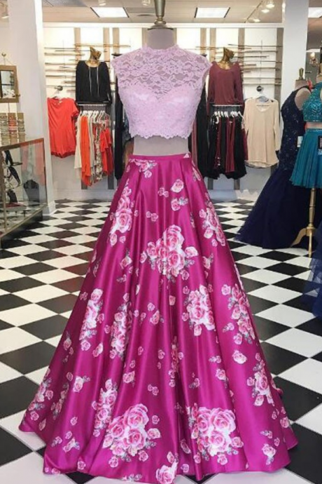 Print Fabric Prom Dresses, Lace- top Prom Dresses, Print Floral Party Dress, 2 piece Prom Dresses