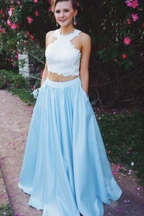 Two Piece Prom Dresses ,Lace Top Prom Dresses with Pockets Prom Dress Prom Dress