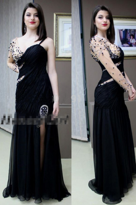 Prom Dress, Long Sleeve Prom Dress, Evening Dress ,One shoulder Prom Dress with Beads