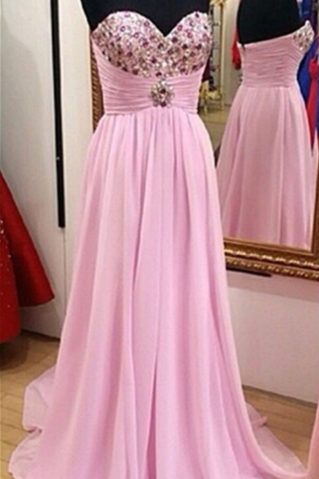 Prom Dress,Pink Prom Dress,Pretty Prom Dress,Beaded Prom Dress,Long Prom Dresses, Chiffon Prom Dress,Party Dresses