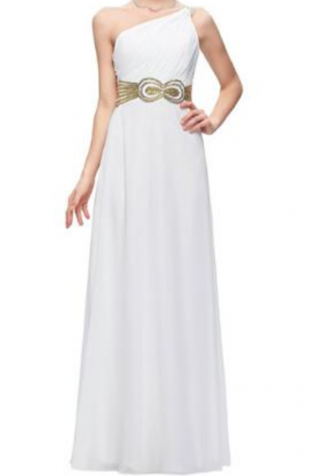 a shoulder evening gown long elegant white glitter new prom dress evening gowns