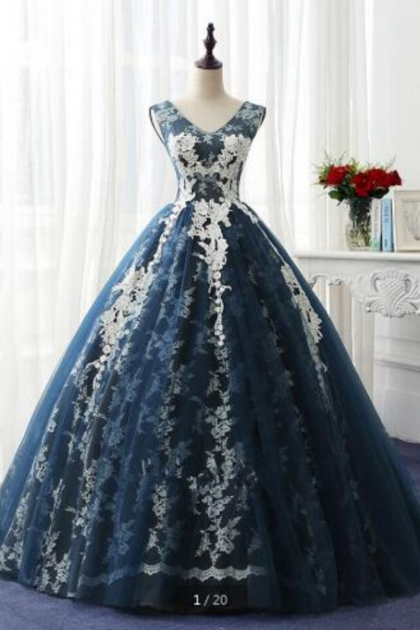 hot sale ball gown cap sleeve lace appliques prom dress real picture v neckline princess formal prom gowns