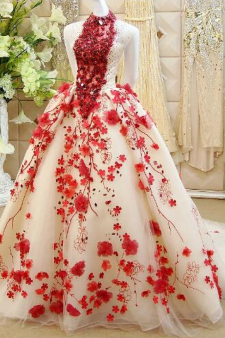 Gown Embroidered Beaded Diamond Flowers Evening Dresses Backless Puffy Party Red Carpet Prom Gowns