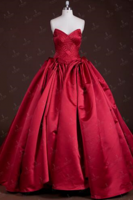 Fast Ship Off Shoulder Sweetheart Neckline Satin Knit Design Crisscross Gathers Lace up Back Plain Red Puffy Prom Dress